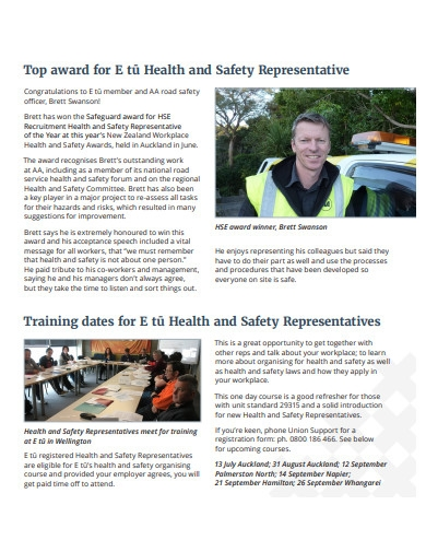 simple health and safety newsletter