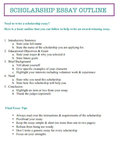 simple scholarship essay outline