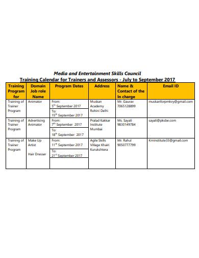 skills training calendar