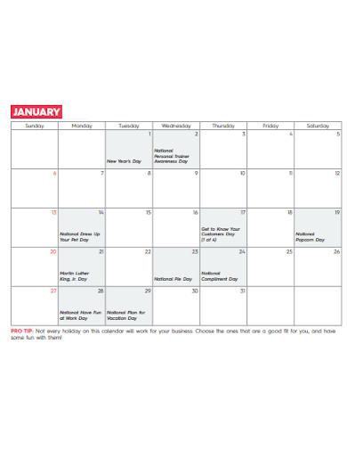 small business marketing plan calendar1