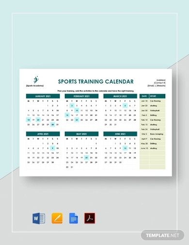 sports training calendar