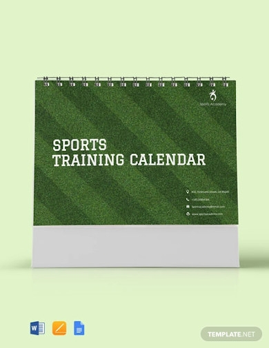 sports training desk calendar