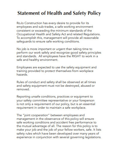 statement of health and safety policy for construction