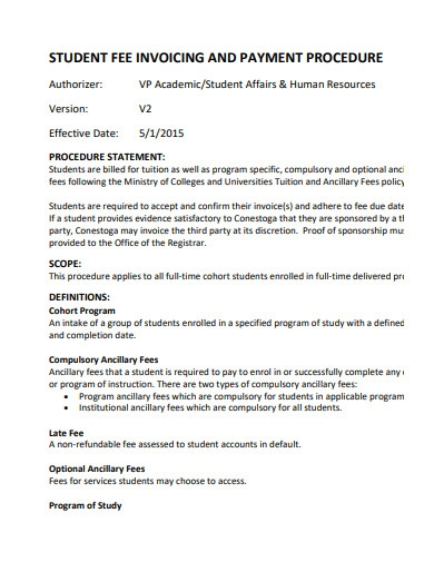 student fee invoicing and payment procedure