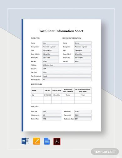 tax client information sheet