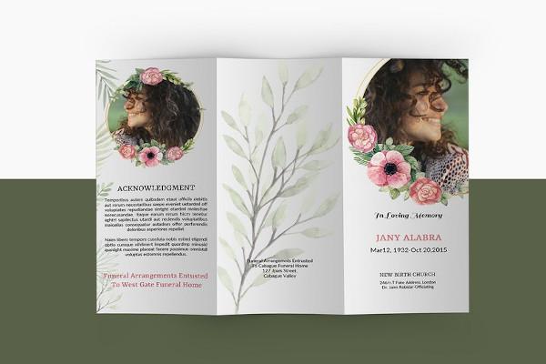 trifold funeral memorial brochure template