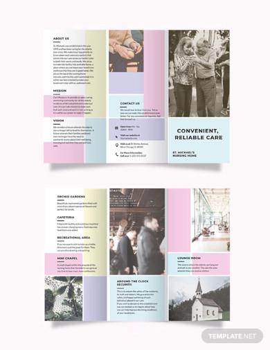 snursing home care tri fold brochure templates