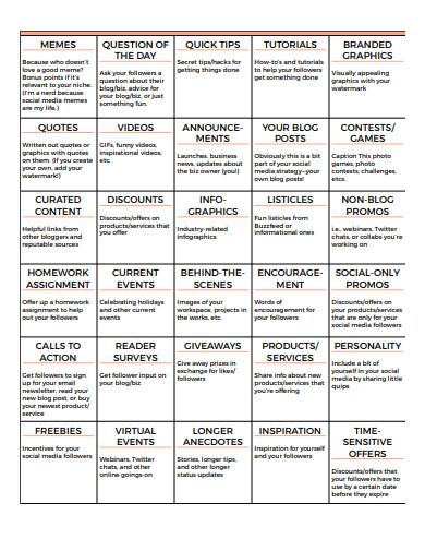 30 day social media calendar