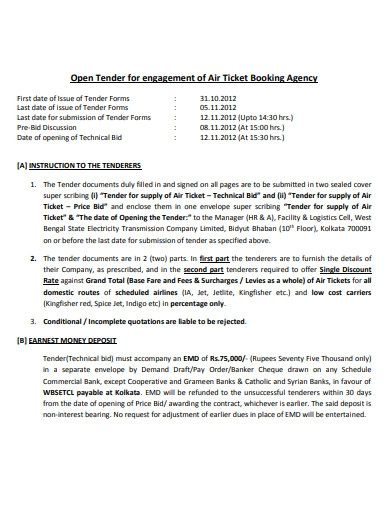 agent booking contract example
