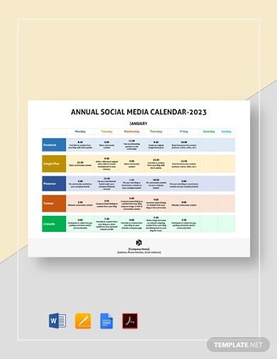 annual social media calendar