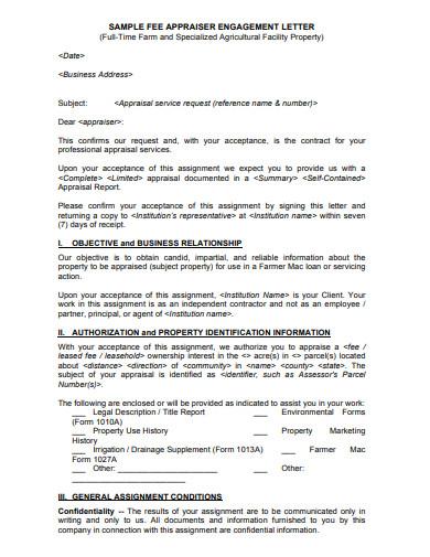 appraisal engagement letter