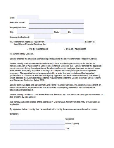 appraisal transfer letter
