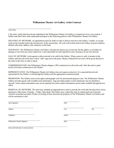 art gallery artist contract example