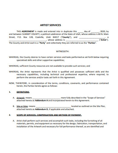 artist services contract
