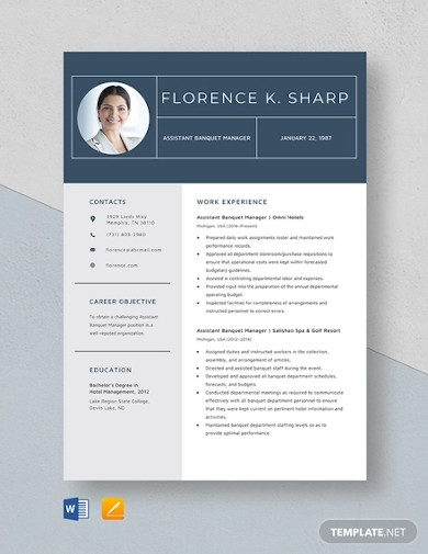 assistant banquet manager resume