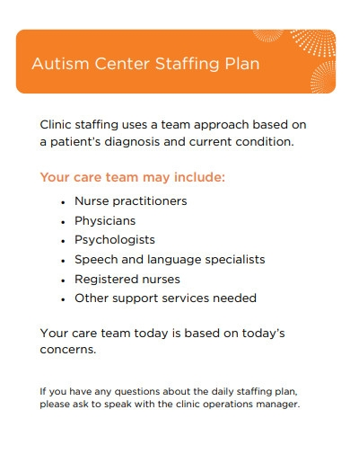 autism center staffing plan
