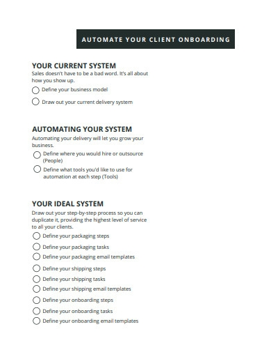 automate client onboarding workshop checklist