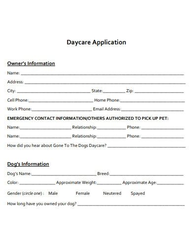 basic daycare application