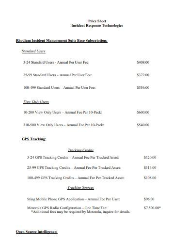 basic price sheet