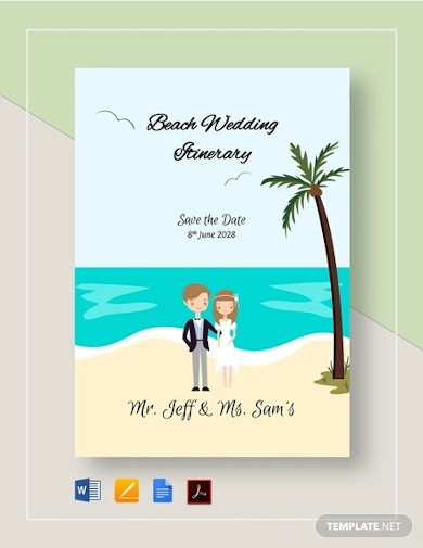 beach wedding itinerary template