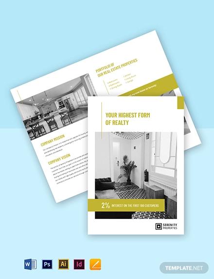 bi fold real estate portfolio brochure template