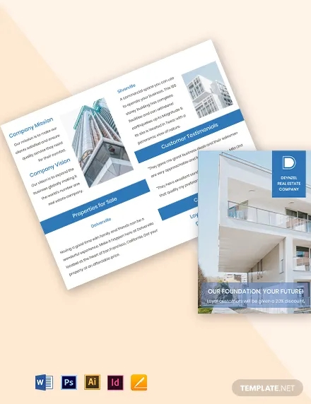 bi fold real estate and property sell brochure template