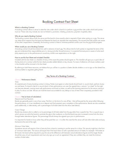 booking agent contract fact sheet