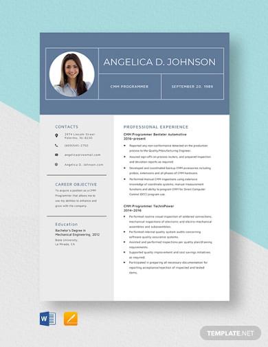 cmm programmer resume template