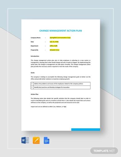 change management action plan template
