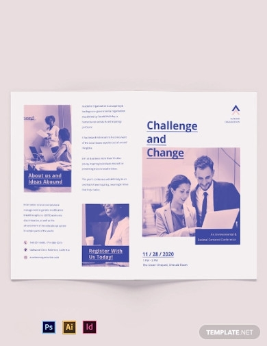 charity corporate event bi fold brochure template