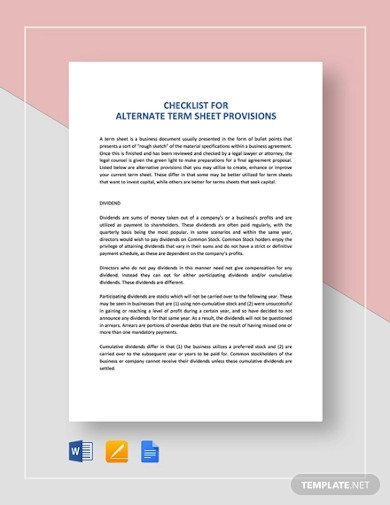 checklist alternate term sheet provisions
