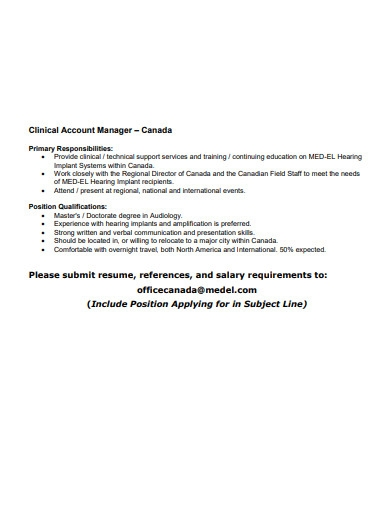 clinical account manager resume