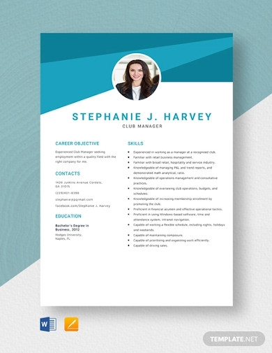 club manager resume template