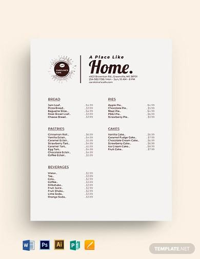 coffee shop price list template