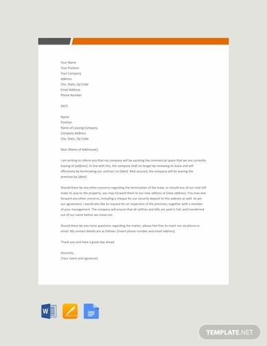 commercial lease termination letter
