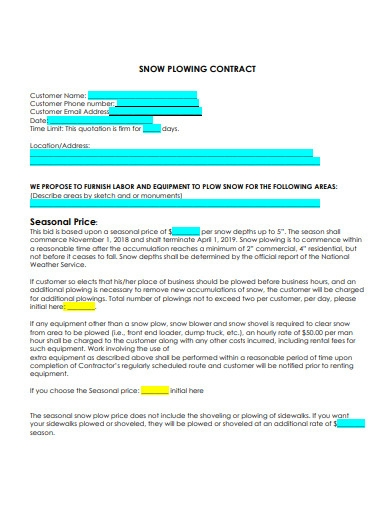 commercial snow plow contract