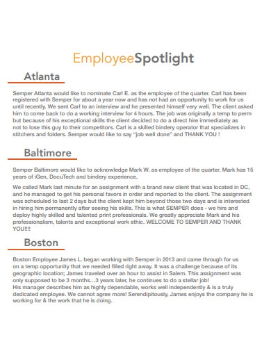 company employee newsletter