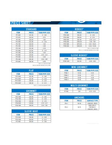 company price sheet