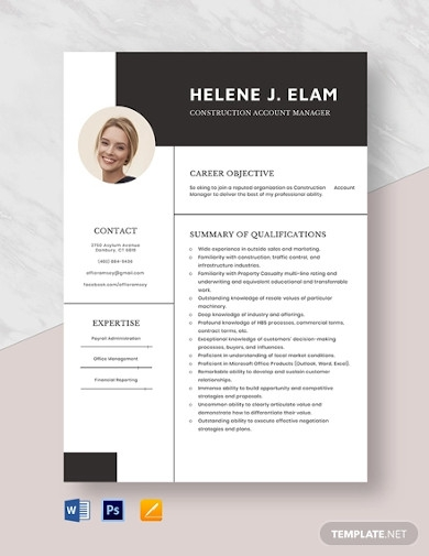 construction account manager resume
