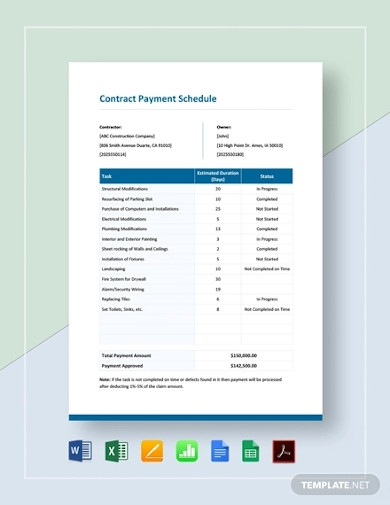 contract payment schedule