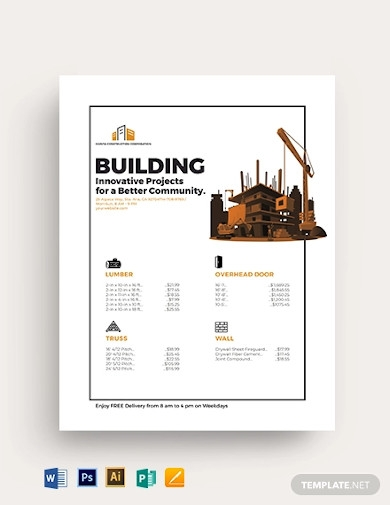 contractor price list template