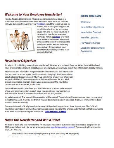corporate employee newsletter