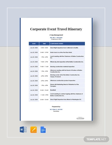 corporate event travel itinerary