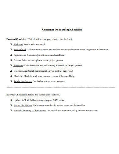 customer onboarding checklist