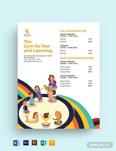 daycare price list template