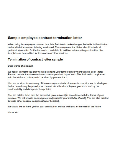 employee contract service termination letter