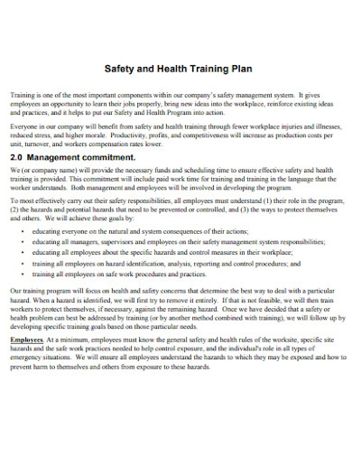 employee safety and health training plan