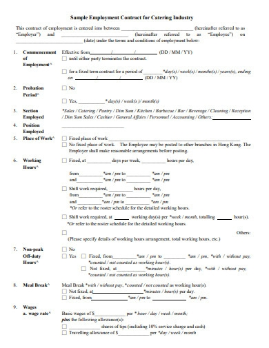 employment contract for food catering