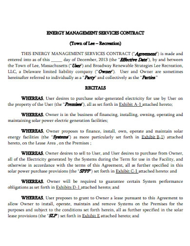energy management services agreement contract