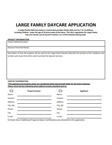 family daycare application form